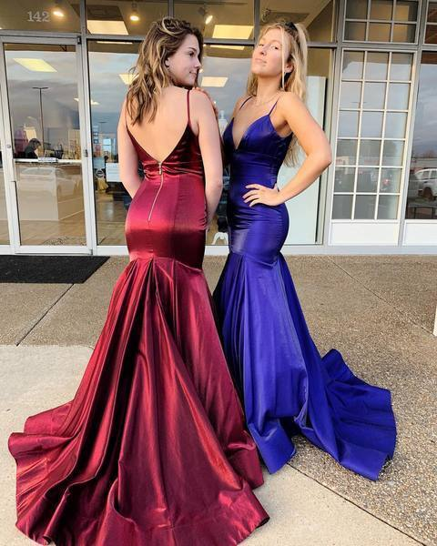 Charming Custom Made Simple Mermaid Spaghetti Straps Long Prom Dress