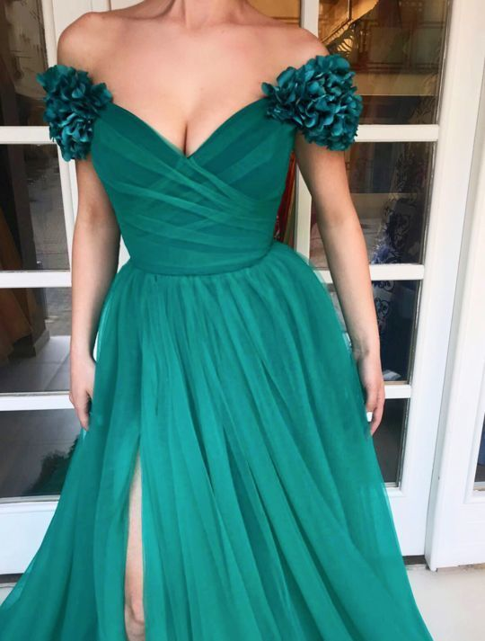 Charming Sweetheart Neckline,Sexy Off Shoulder ,Short Sleeves,A Line Prom Dress