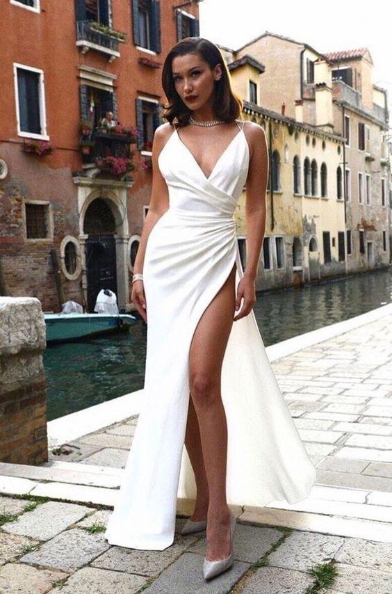 Spaghetti Straps Deep V Neck Sexy Floor-Length Satin Prom Dress ,high Slit