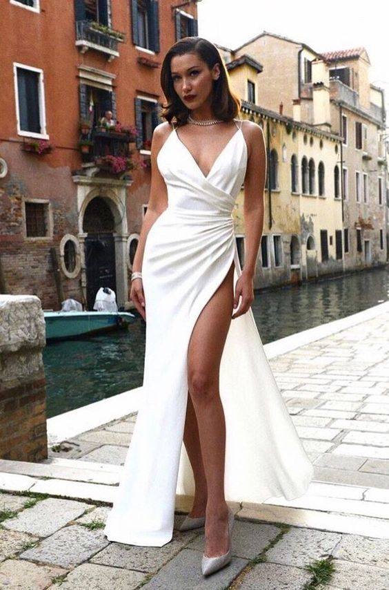 Spaghetti Straps Deep V Neck Sexy Floor-Length Satin Prom Dress ,high Slit