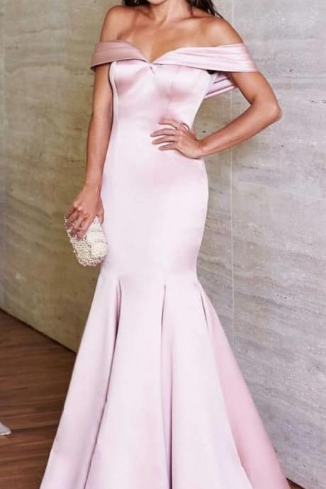 Mermaid Off-the-Shoulder Floor-Length Light Pink Prom Dress with Pleats