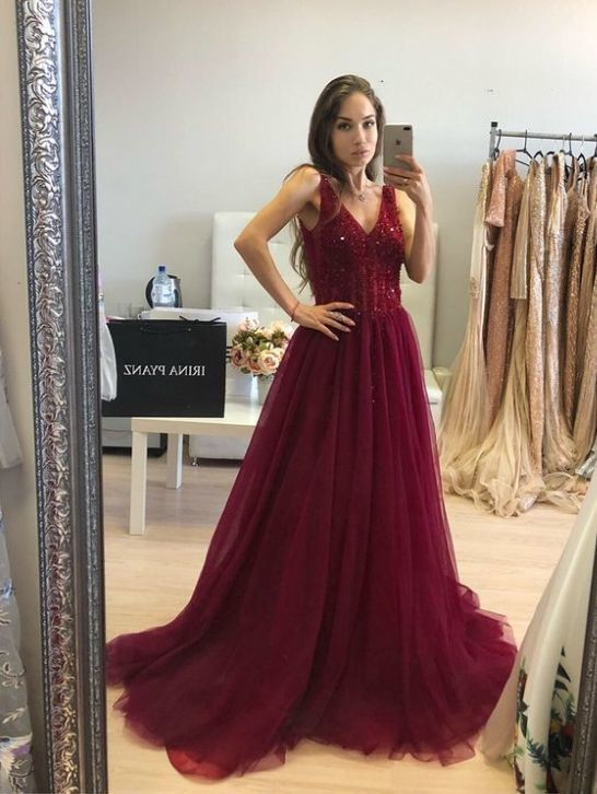 Luxurious V Neck Beaded Burgundy/Black Long Party Dress