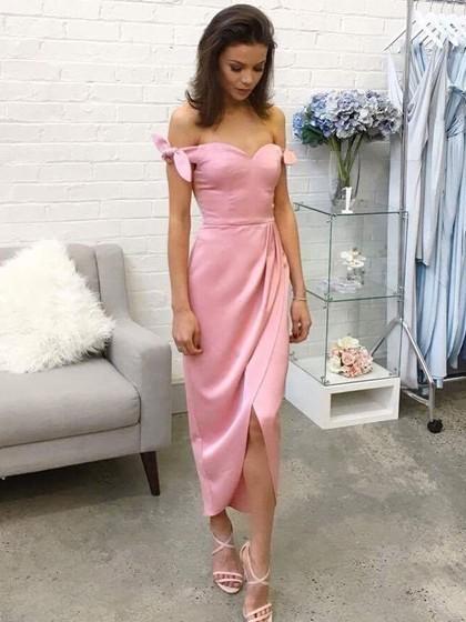 Sheath/Column Off-the-shoulder Silk-like Satin Tea-length Bow Prom Dresses
