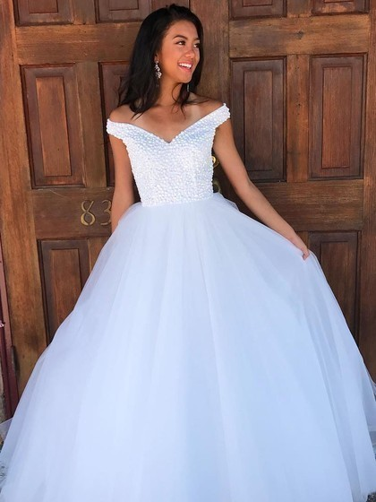 Ball Gown Off-the-shoulder Tulle Floor-length Beading Prom Dresses
