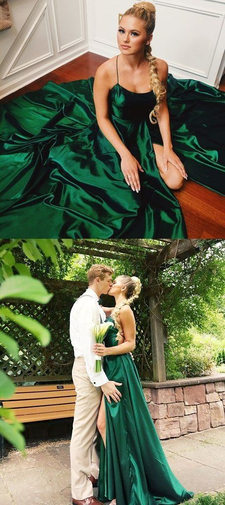 2019 Long Prom Dresses Elegant, Dark Green Prom Dresses With Slit, A Line Prom