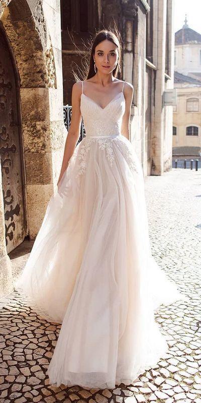 spaghetti Wedding Dress,Simple White Satin Bridal Dress with Appliques