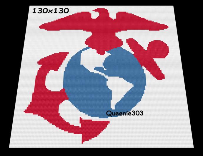 USMC Red, White, Blue 130x130