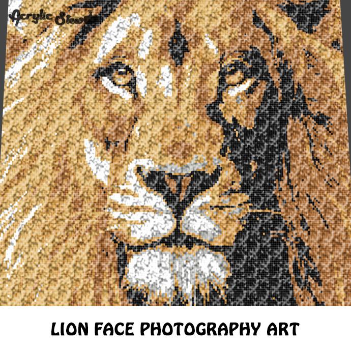 Lion Face Photograph Art crochet graphgan blanket pattern; graphgan pattern,