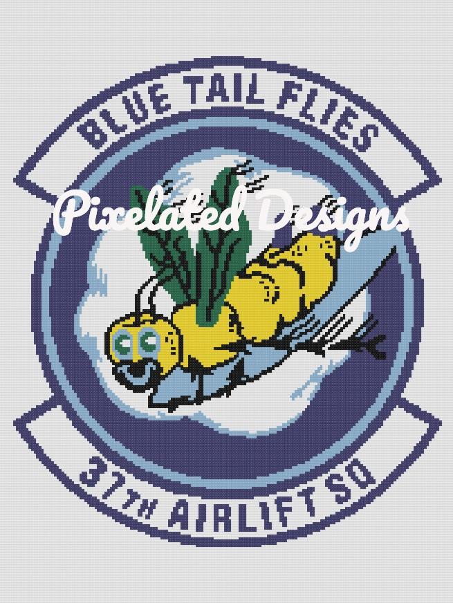 Blue Tail Flies 37th Airlift Squadron Pattern - SC - 180x240 - Graph w/Written