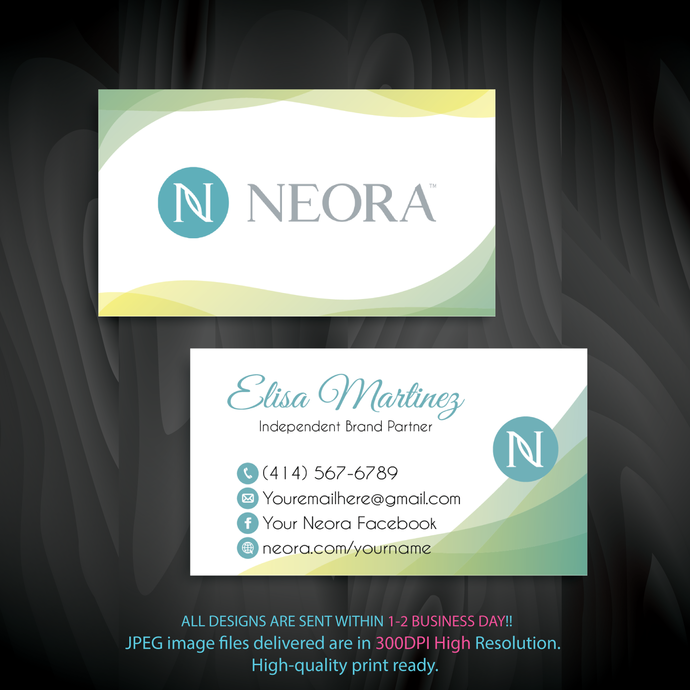 Neora Business Card, Personalized Neora Business Cards, Colorful Neora Card,