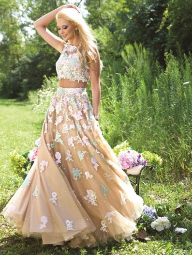 Two Pieces Appliques Charming Prom Dress, long prom dress, evening dress,prom