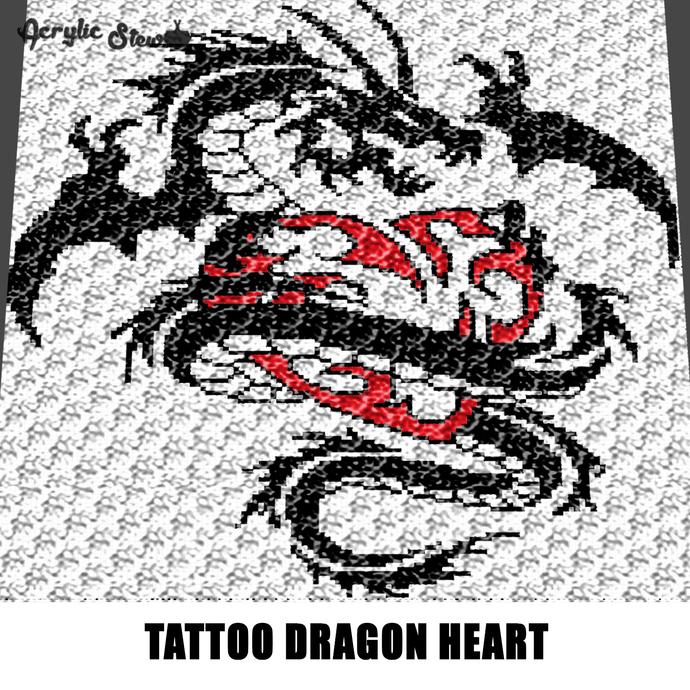 Tattoo Dragon Holding Heart Alpha Art crochet graphgan blanket pattern; afghan;
