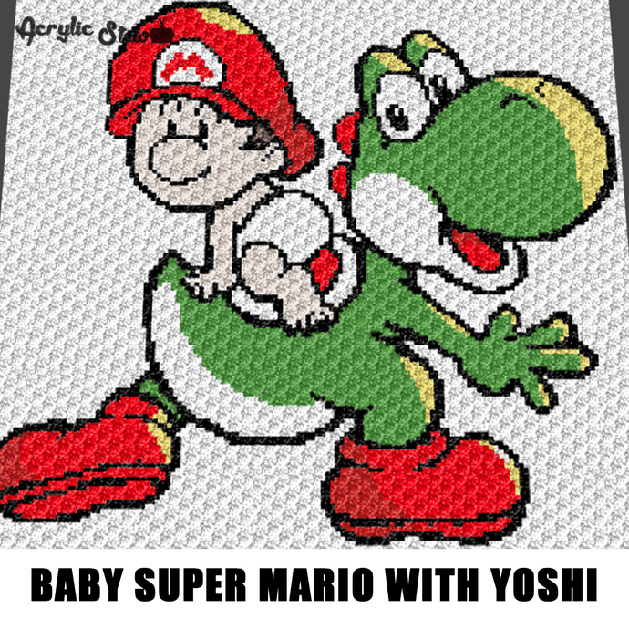 Kawaii Baby Mario And Yoshi Crochet Graphgan By Acrylic Stew On Zibbet