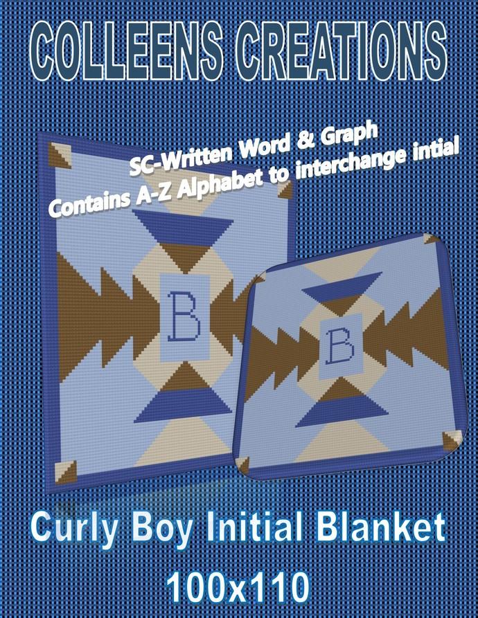 Curly Initial Boy Blanket Crochet Written Word & Graph Design