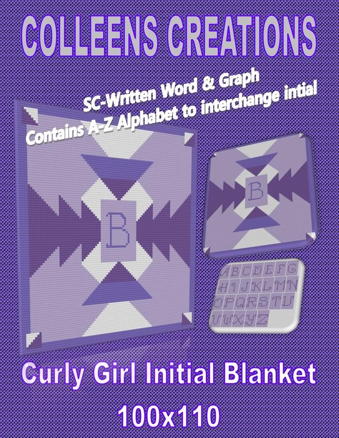 Curly Girl Initial Blanket Crochet Written Word & Graph Design