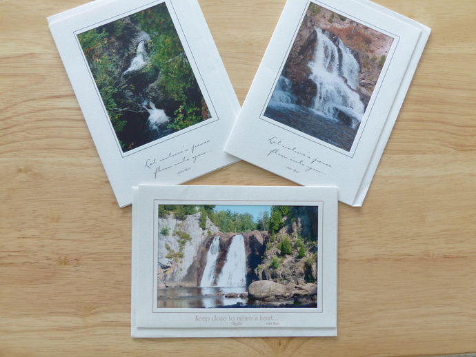 Photo greeting cards, original photography, Minnesota scenery, waterfall cards,