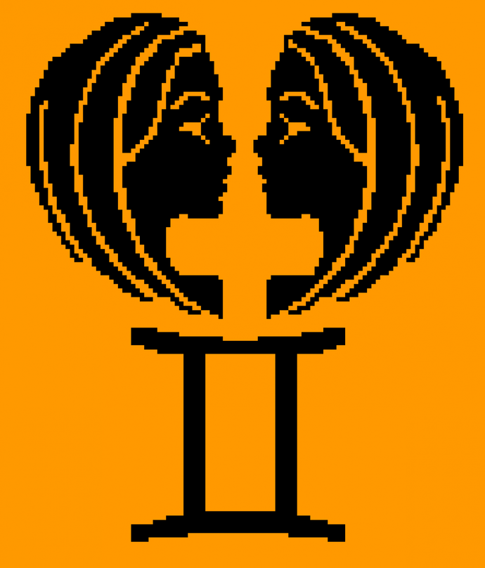 Zodiac sign Gemini 130x111 c2c graph and written