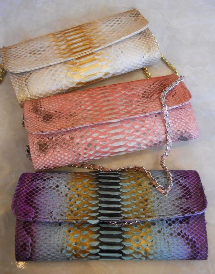 Handmade python leather clutch-wallet with chain