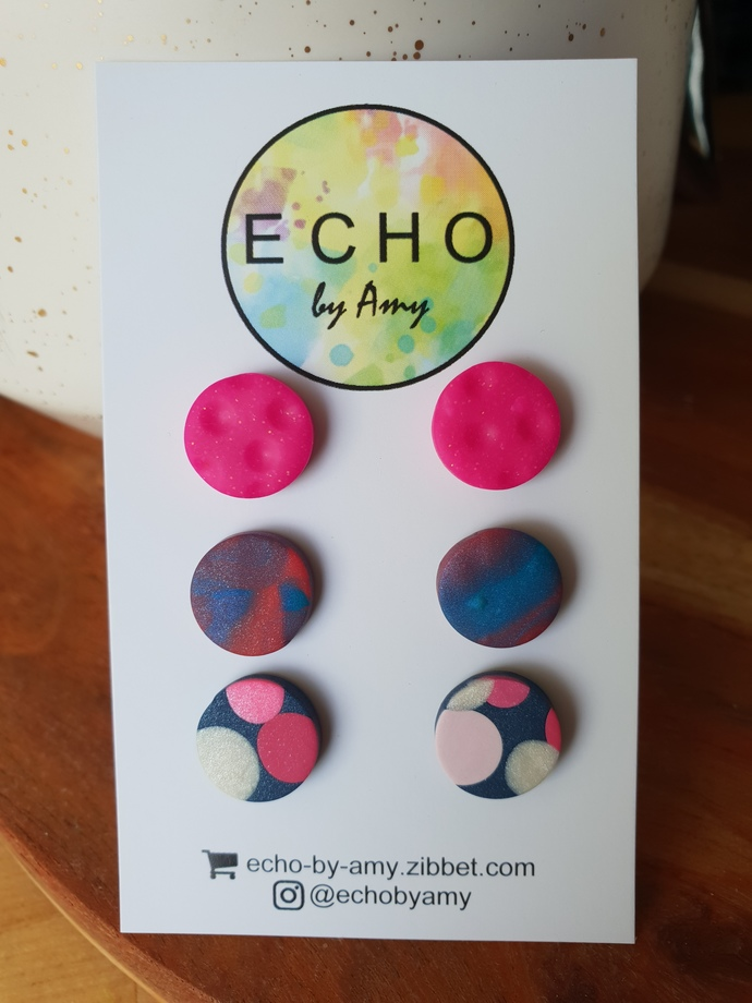Clay Stud Triple Pack - pink/marble/dotty
