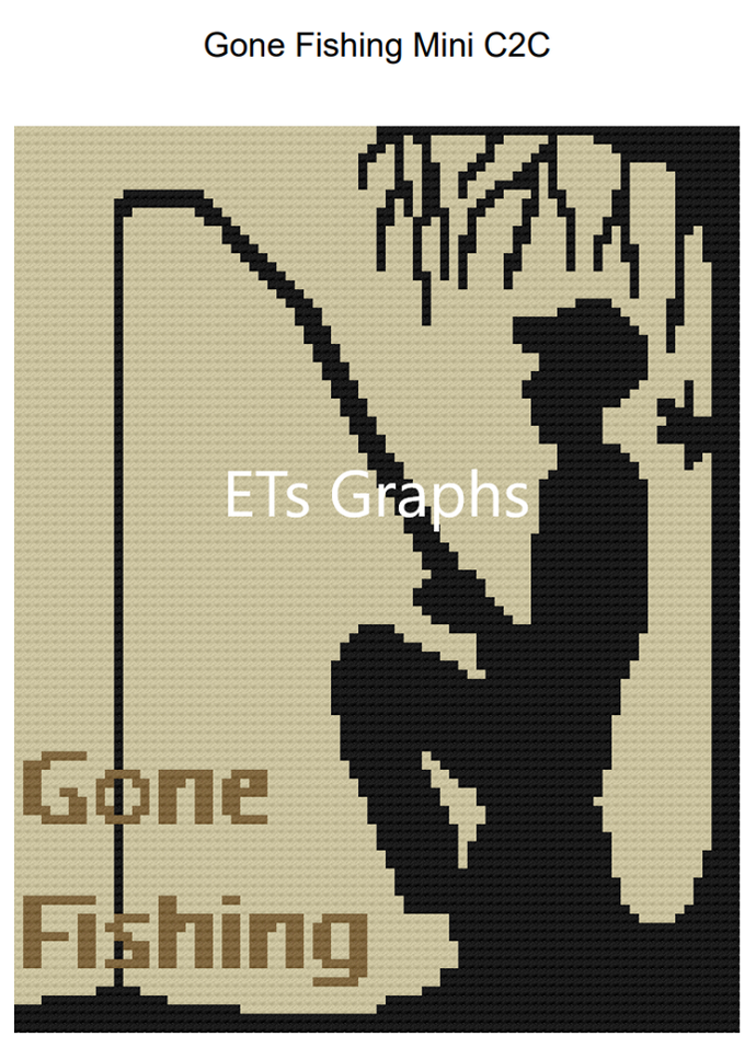 Gone Fishing - Mini C2C - 80x100 Throw - Graph w/Written