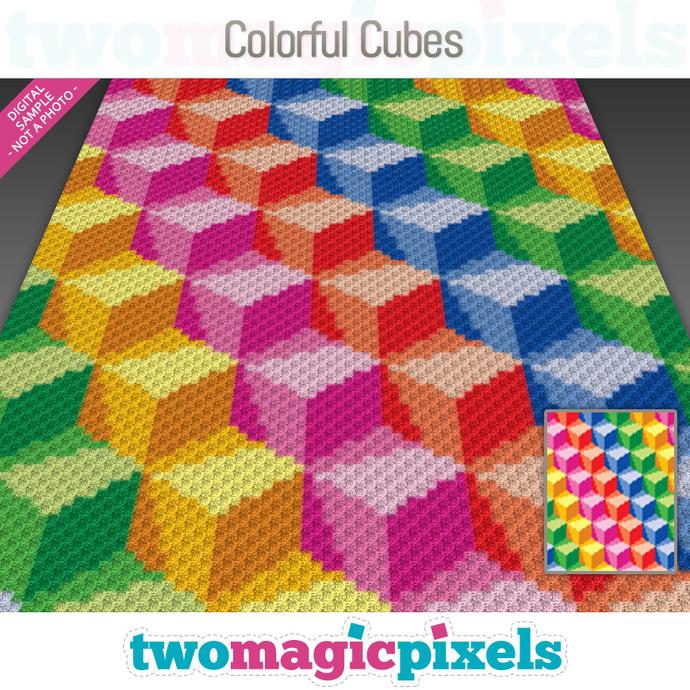 Colorful Cubes crochet graph (C2C, Mini C2C, SC, HDC, DC, TSS), cross stitch;