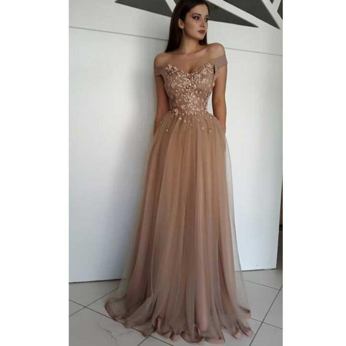 Champagne tull, lace applique sexy luxury ball gown special occasion party dress