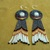 Native American Style Rosette Beaded Howlite Earrings done in Hematite with