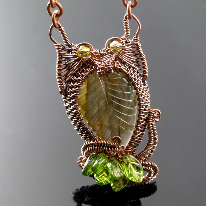 Wire woven copper owl pendant with leaves