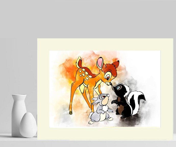 Bambi & Friends Water Colour Splash Art Photograph Mounted. #2 ~ UK FREE P&P