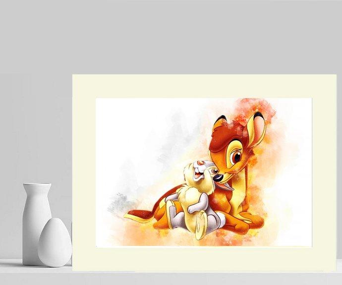 Bambi & Thumper Water Colour Splash Art Photograph Mounted. #3~ UK FREE P&P