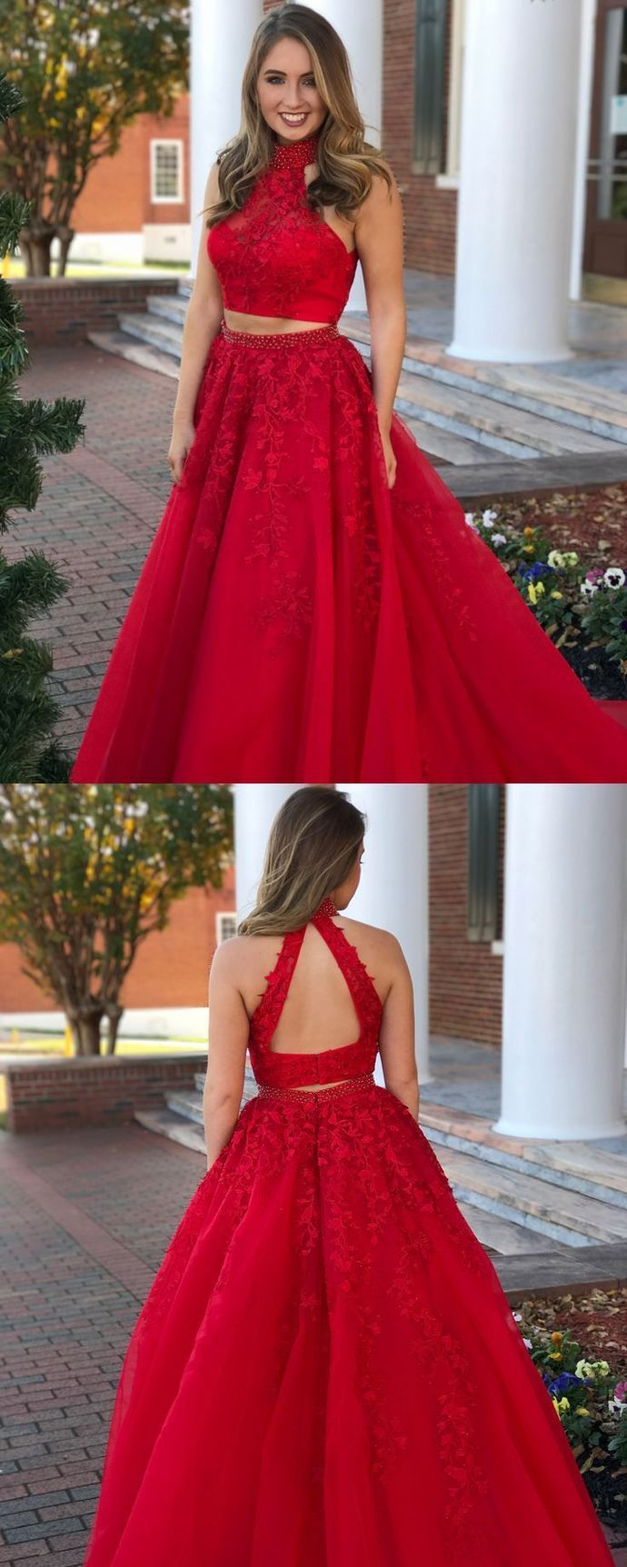 Sexy Two Pieces A-Line Prom Dresses,Long Prom Dresses,Cheap Prom Dresses,