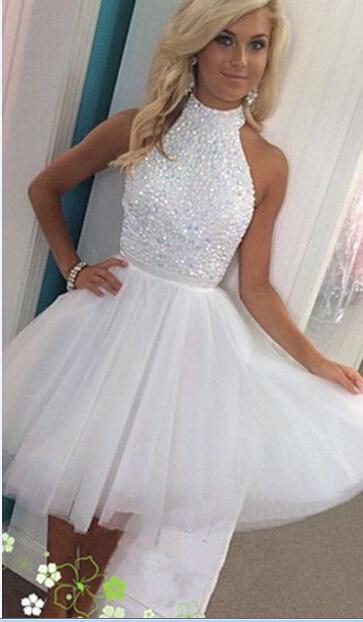 Prom Dress White Beads Rhinestones Tulle Mini Short Prom Dresses Party Dress