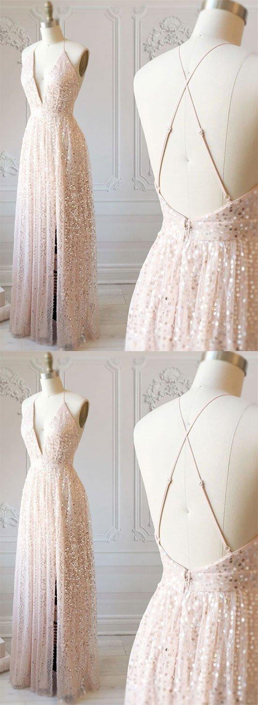 Champagne v neck sequins long prom dress, evening dress