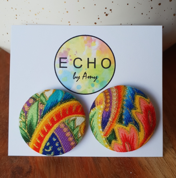 Mega Fabric Button Studs - super colours