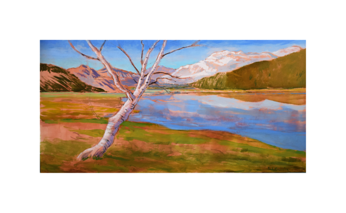 """Landscape Painting, """"The Birch Tree"""" by Paul Manwaring, Canvas wall art"""
