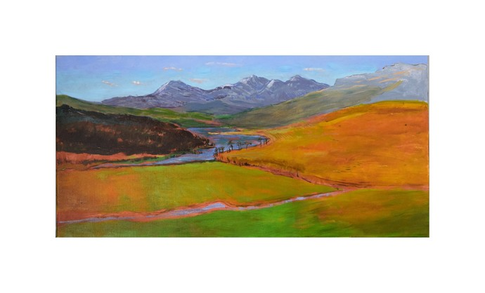 Original Acrylic Landscape Painting, Canvas painting, Wall art, View of Capel