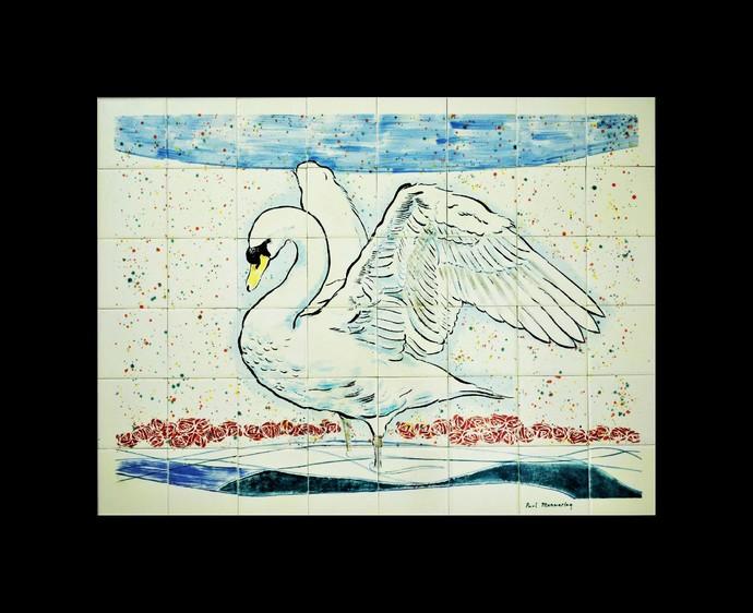 "Kitchen backsplash, Hand painted tile mural, Decorative tile mural, 31.8"" x 24"","