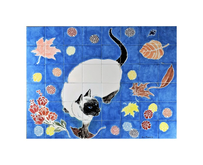 "Kitchen backsplash,Hand painted ceramic mural, The Siamese Cat, 31.8"" W x 24"" H,"