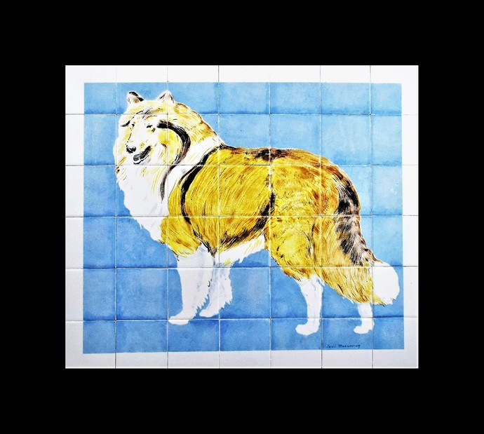 "Kitchen backsplash, Hand painted ceramic tile mural, THE COLLIE DOG, 28"" W x 24"""