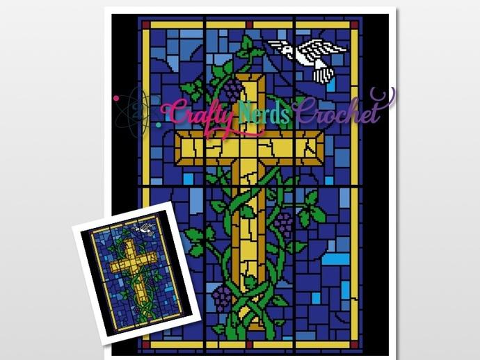 Stained Glass Window Cross Pattern Graph With Single Crochet Written