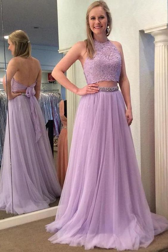 bb52d75e77 Open Back High Neck Lilac Beaded Long Two Piece Prom Dress Formal Evening  Party