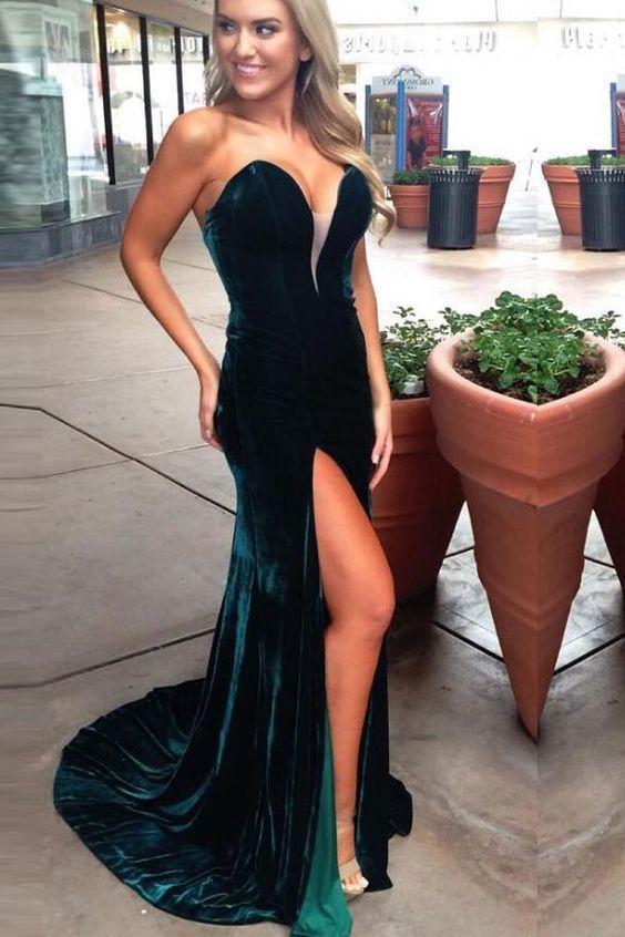ab6ed22c1aa5 Sexy V Neck Dark Green Velvet Slit Mermaid Long Prom Dress Formal Evening  Fancy