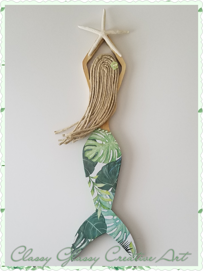 Mermaid Wall Art Green Leaves #122017034