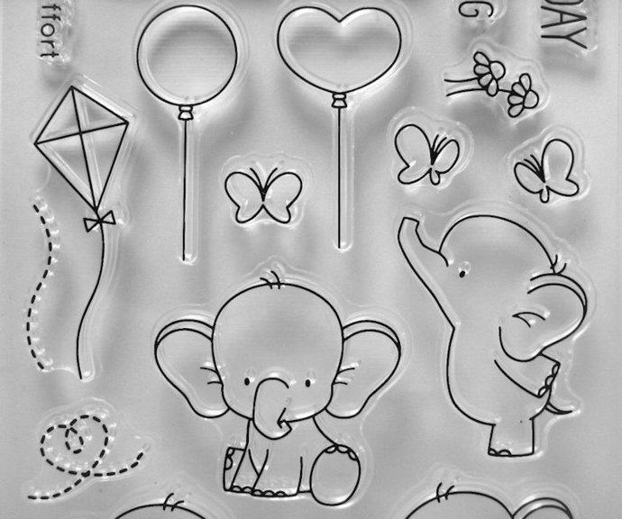 Baby Elephant Party Clear Stamps