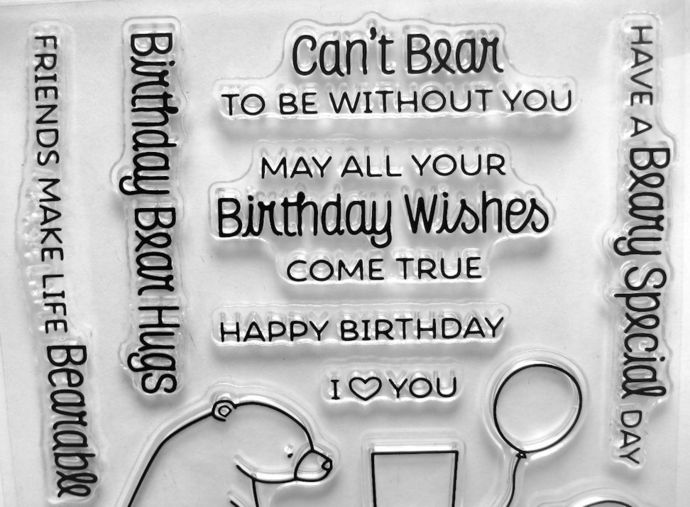 Mom and Baby Bear Party Clear Stamps, Birthday Stamp