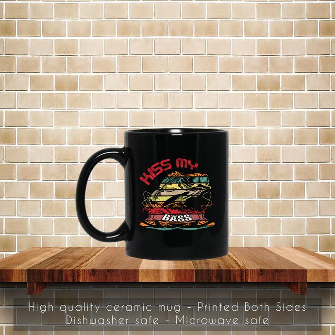 Retro Fishing Long Sleeve, Kiss My Bass Coffee Mug, Tea Mug, Coffee Mug, Fishing