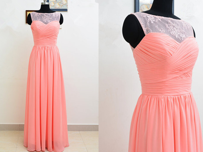 793a9ad248af Light Coral Prom Dresses,Chiffon Prom Dress,Lace Prom Gown,Simple Prom