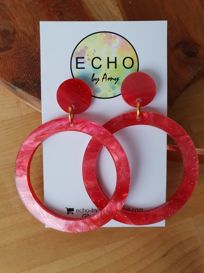 BIG Hoops - red sparkle marble