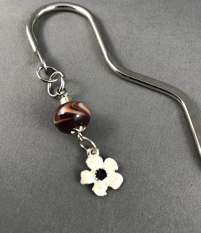 Long Silver Bookmark with Red Glass and Flower Charm
