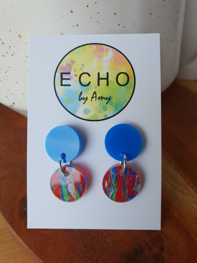 Small Acrylic Dangles - blue & red